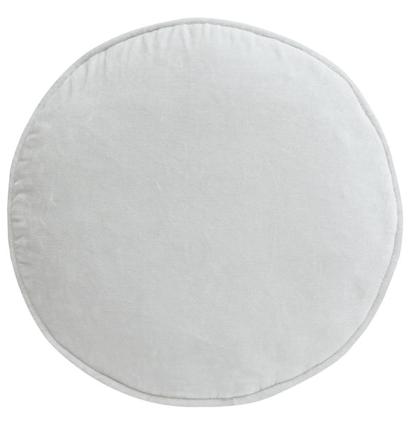 Castle Penny Round Cushion | Ice Grey Velvet