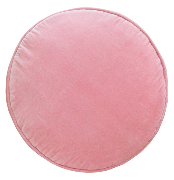 Castle Penny Round Cushion | Baby Pink Velvet