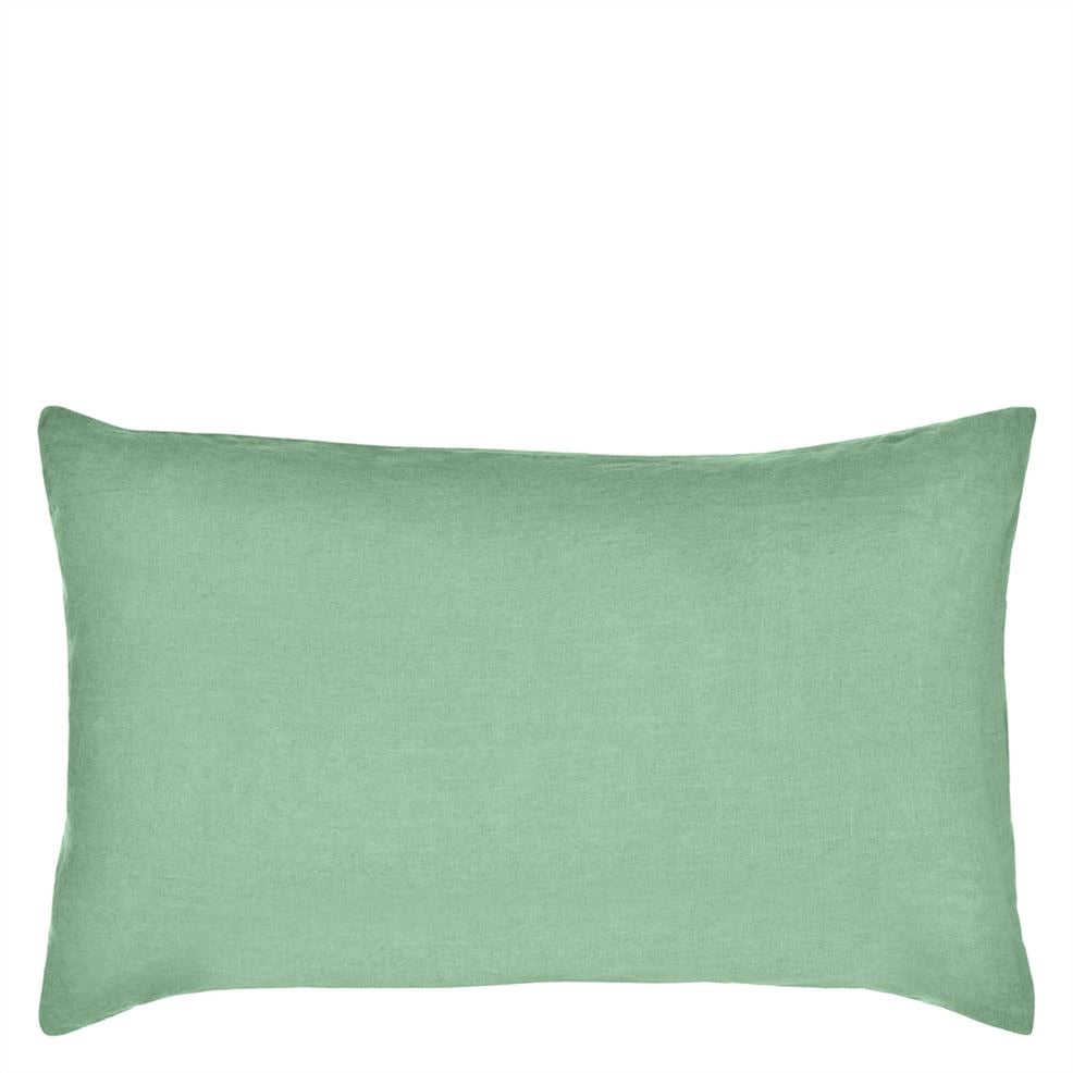 Designers Guild Biella Linen Pillowcase | Pale Jade & Olive