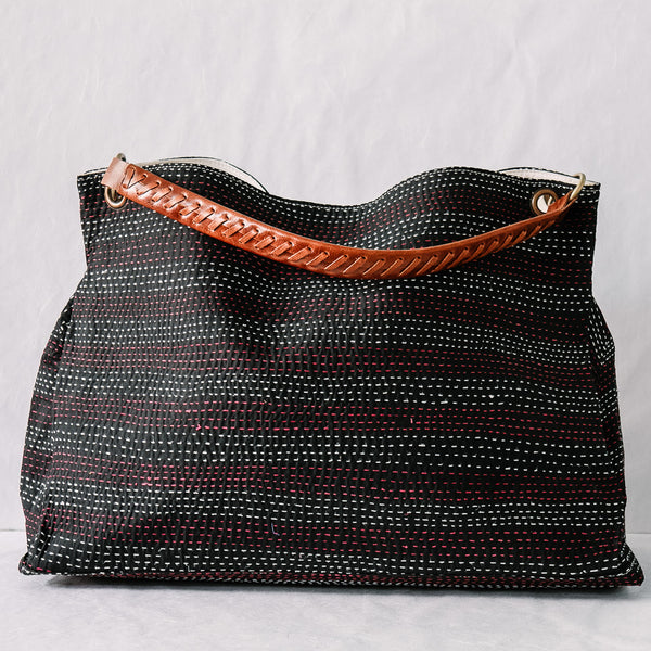 Vintage Kantha Tote Bag - Black Raspberry