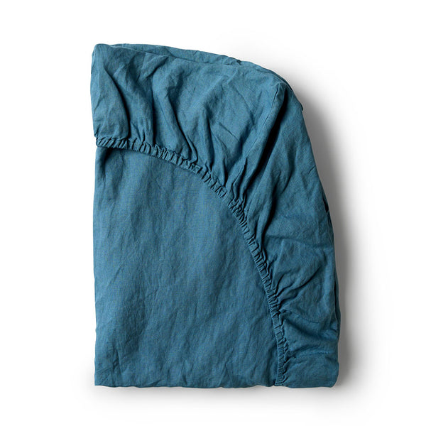 Minimrkt Linen Fitted Sheet | Legion Blue