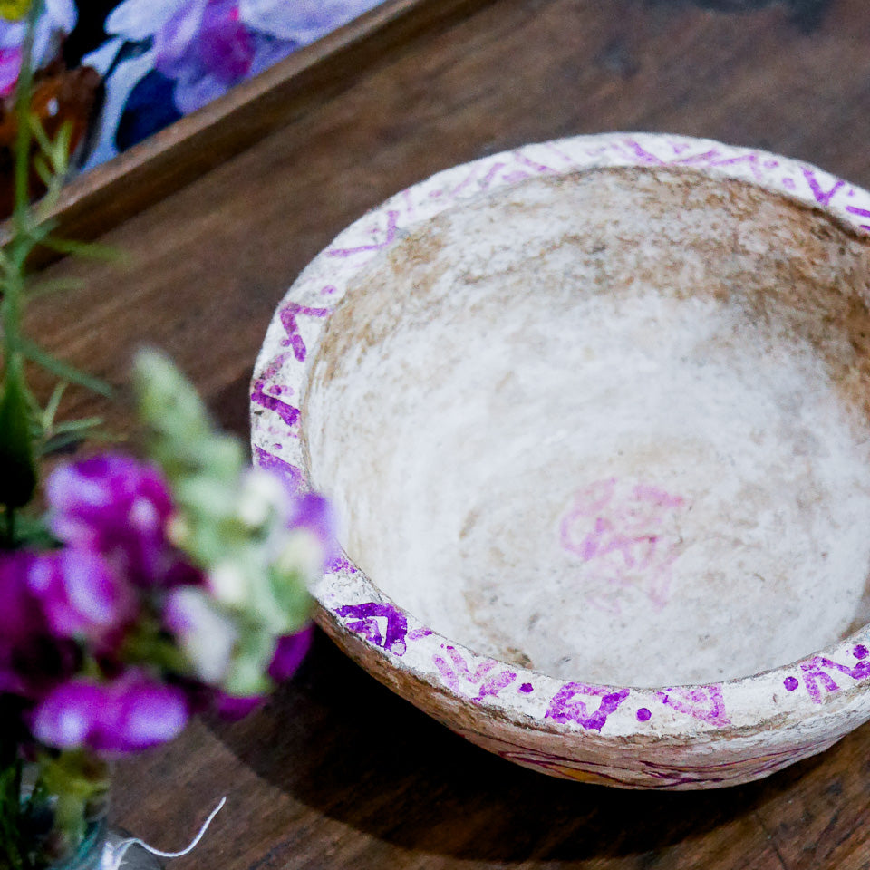 Vintage Indian Paper Mache Bowl | 02
