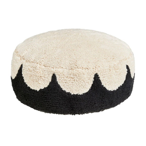 Castle Black Scallop Shag Floor Cushion