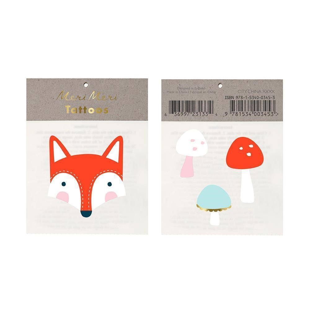 Meri Meri Temporary Tattoo ~ Fox & Mushrooms