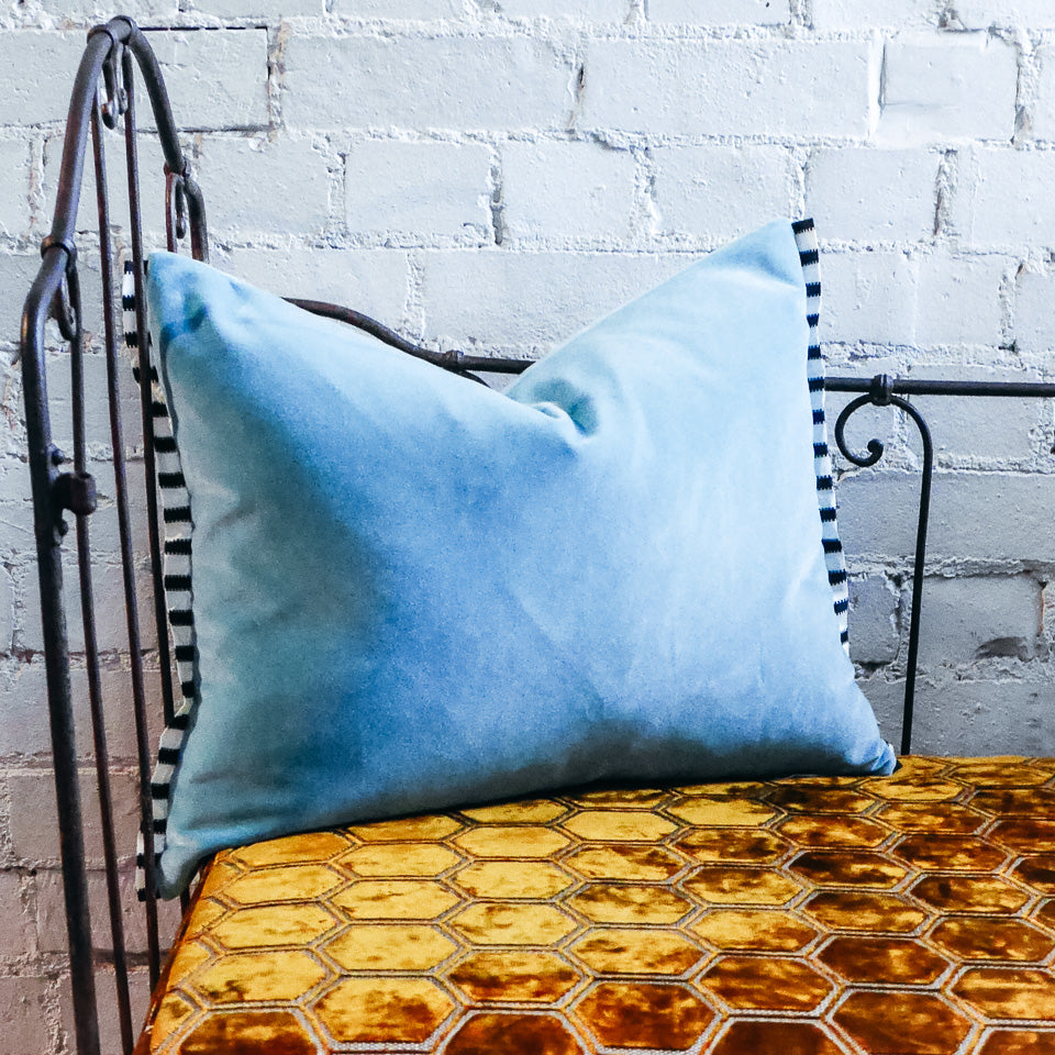 Designers Guild Varese Wedgwood Blue Velvet Cushion