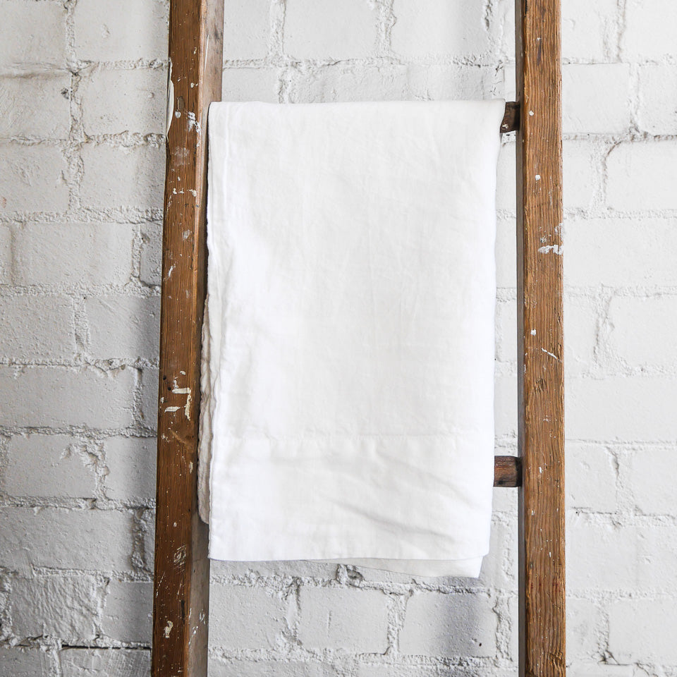 Vida White Linen Pillowcase | European