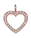 14K Rose Gold Open Heart Diamond Pendant Necklace