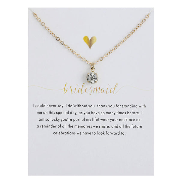 Bridesmaid Wedding Commemorative Pendant Necklace