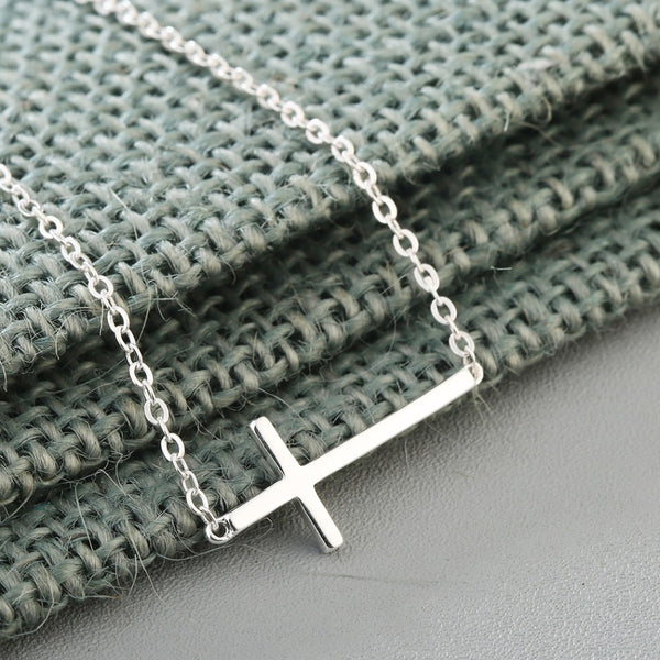 Sterling Silver Horizontal  Cross Bracelet