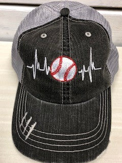 Baseball Heartbeat Baseball Trucker Hat