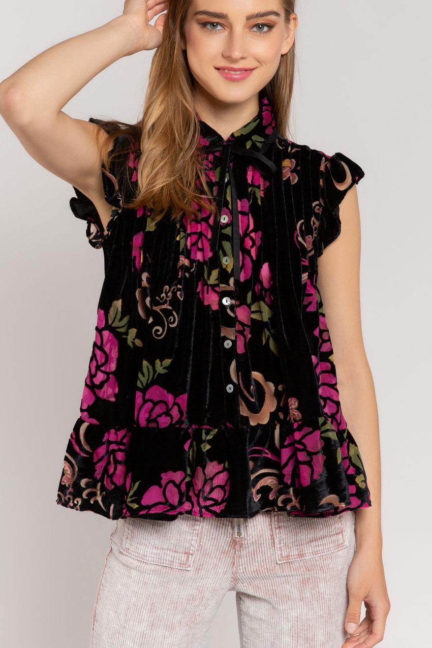 ALL THE TIME Black Floral Top