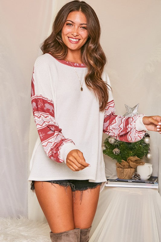 LET IT SNOW Christmas Sleeve Waffle Knit Top