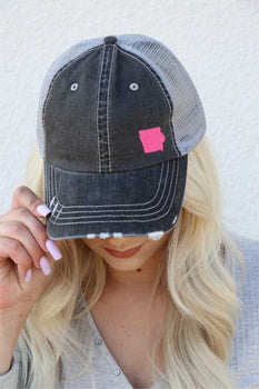 IOWA Embroidered in PINK Trucker Hat