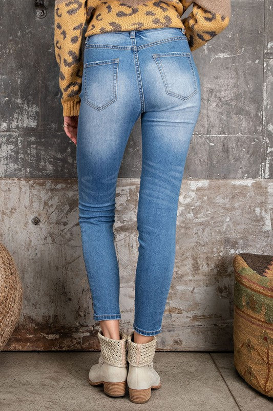 SO REAL Leopard-crazed Denim Distressed Jeans