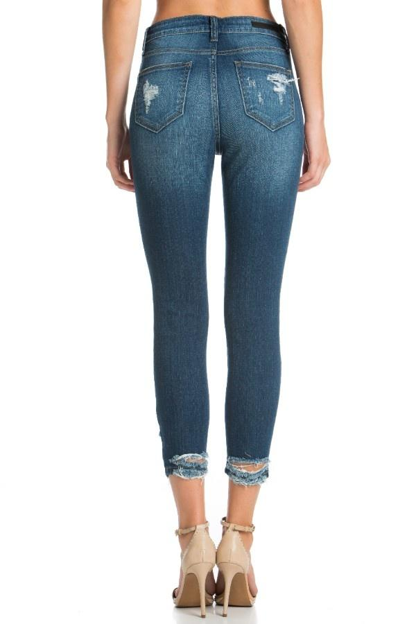 RAIN-RIVER Distressed Ankle Cropped Skinny Jeans