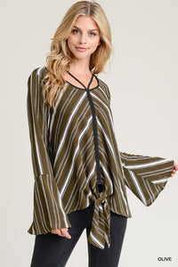 OUT AT NIGHT Olive-striped Top