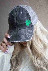 GREEN PAW PRINT Trucker Hat