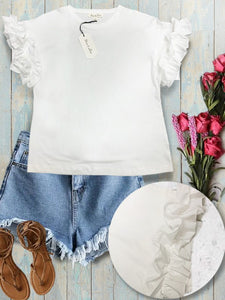 BUTTERFLY WINGS White T-shirt with ruffled sleeves