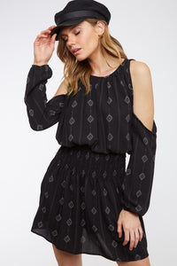 GET IT RIGHT Cold-shoulder Print Mini Dress