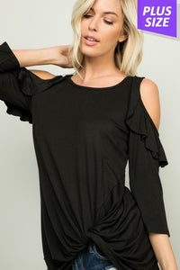WATCH ME Cold Shoulder Top (Plus Sizes)
