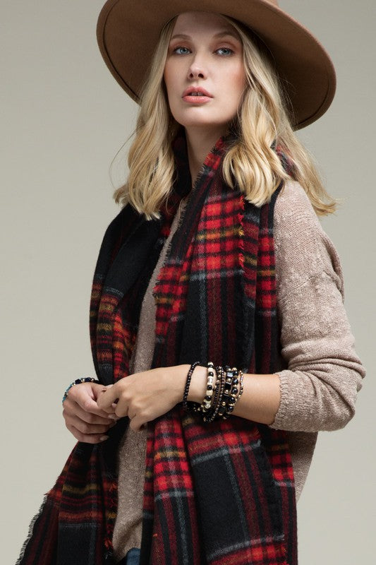 WALK MY WAY Plaid Scarf