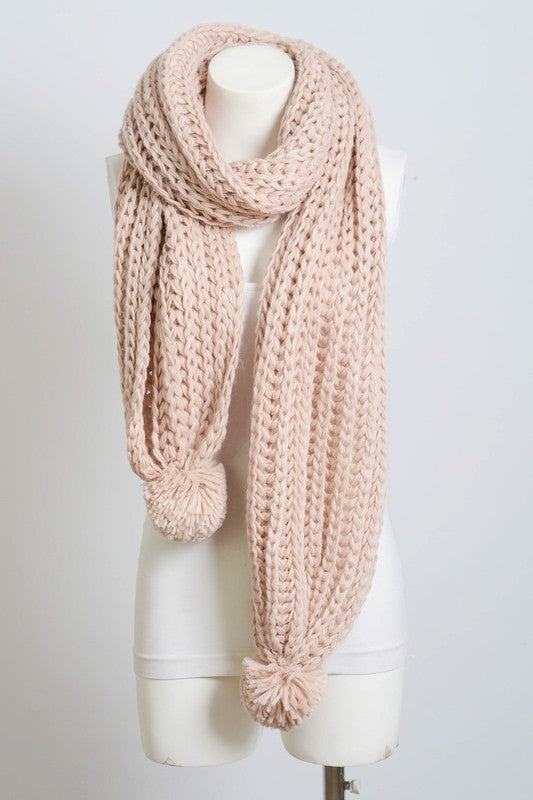 WRECKING BALL Blush Scarf with Pom Poms
