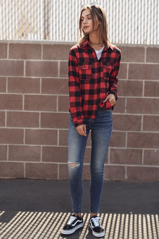 HOW ABOUT THEM COWGIRLS Buffalo Plaid Flannel Top