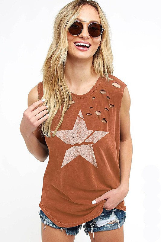 STARS Burnt Orange Muscle Tank