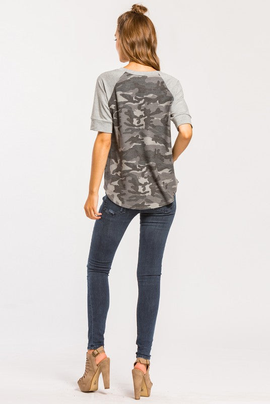 THINKIN' ABOUT ME Camo Top