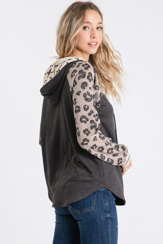 MIND BLOWN Charcoal Leopard Hoodie