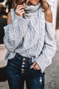 LOVE YOURSELF Turtleneck Cold Shoulder Sweater