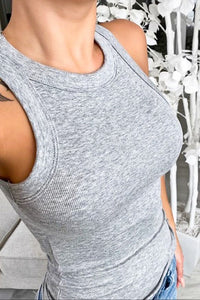 FEELIN' GOOD Gray Ribbed Tank
