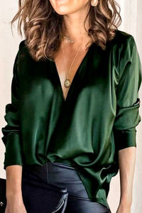 NEVER BE SORRY Dark Green Satin Blouse