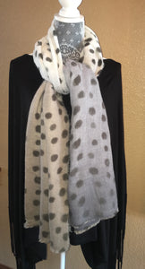 PEGGY SUE Gray Polka Dot Scarf