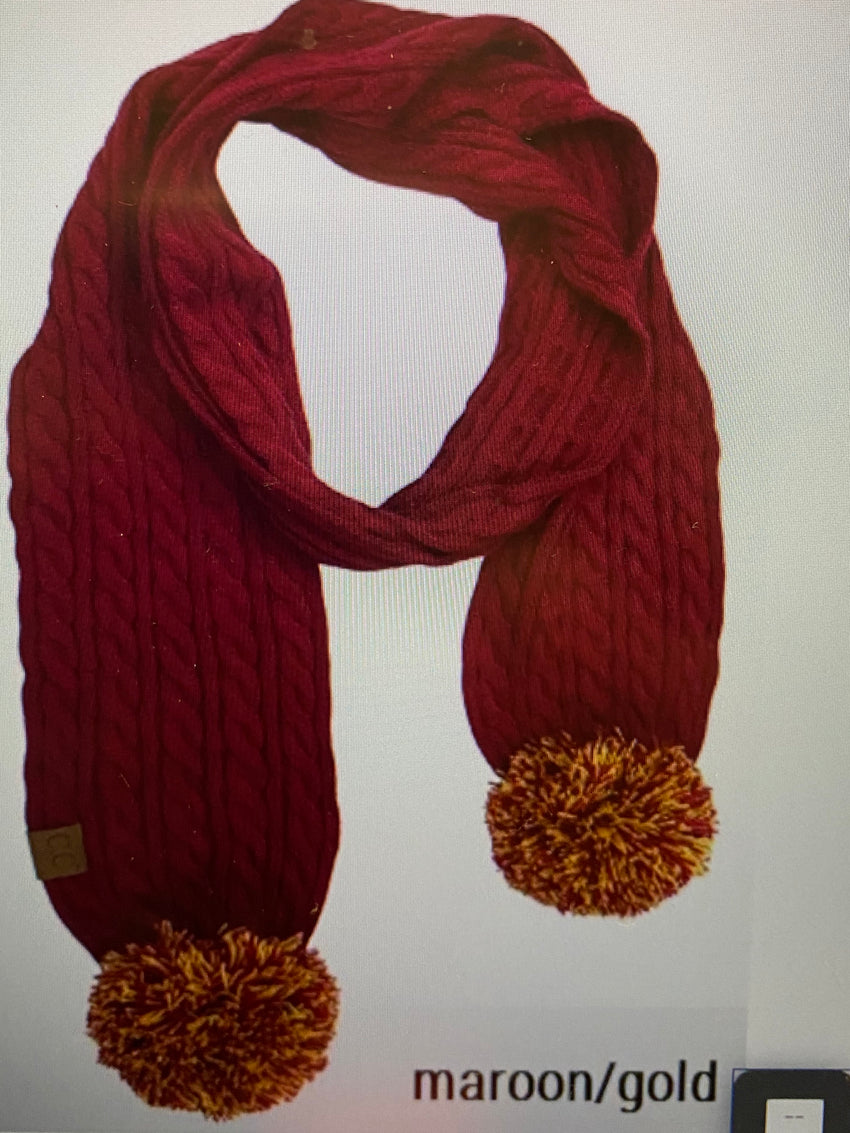 GAME TIME Knit Scarf with Pom-pom