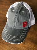 DISTRESSED TRUCKER HAT w Red Paw Print