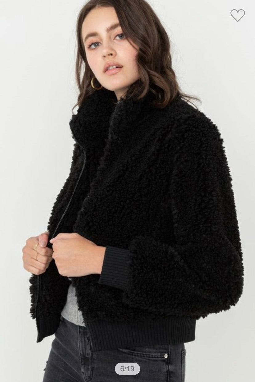 DANCING TONIGHT Black Furry Jacket