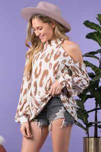 READY OR NOT Leopard Cold-Shoulder Top