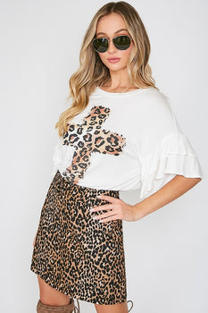 LOVE PARTY Leopard Cross Tee
