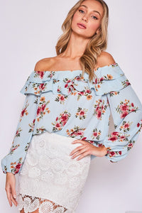 SPIRIT IN THE SKY Light Blue floral top