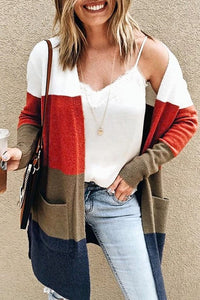 AUTUMN LEAVES Color-block Cardigan