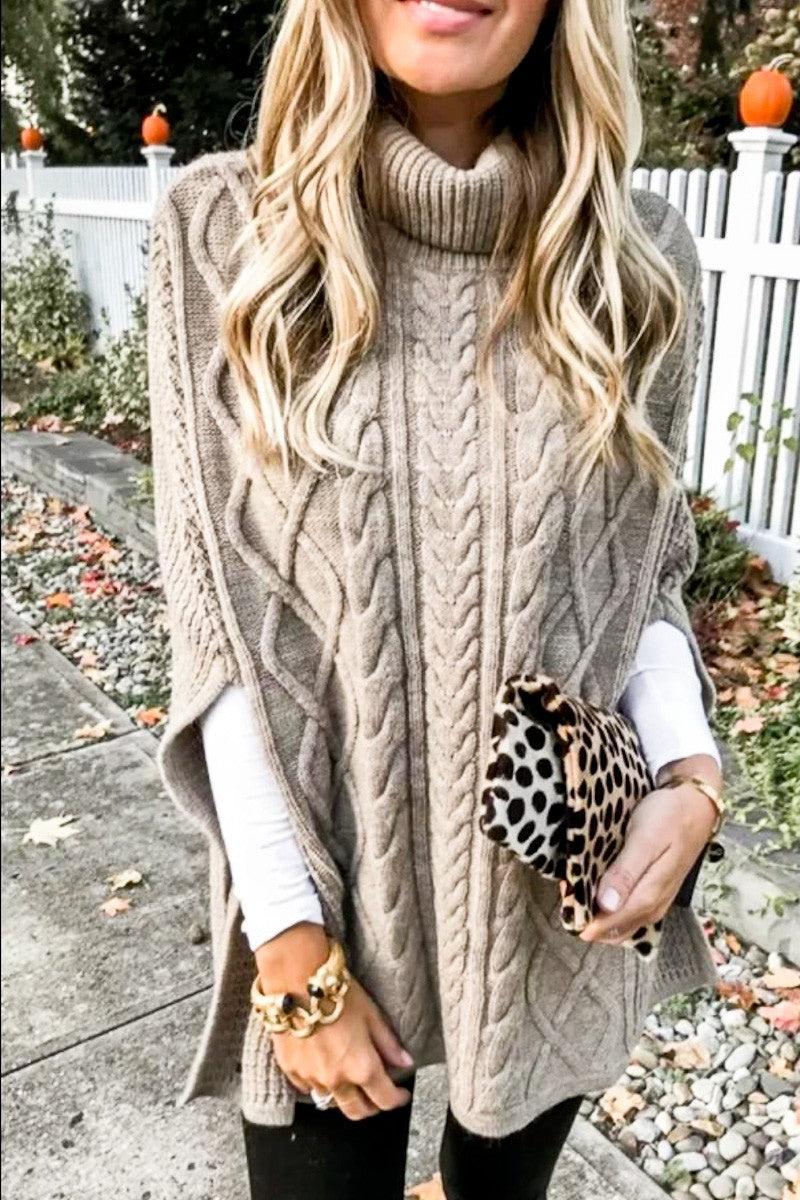 LOVE IS ALIVE Oatmeal Turtleneck Poncho