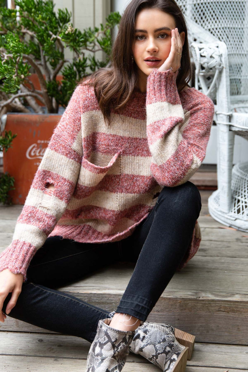 FADED ROSE Striped Sweater
