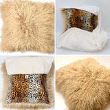 Leopard Print Mongolian Wool Pillow Throw & Tuck