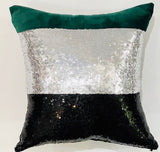 Green / Silver & Black  Pillow