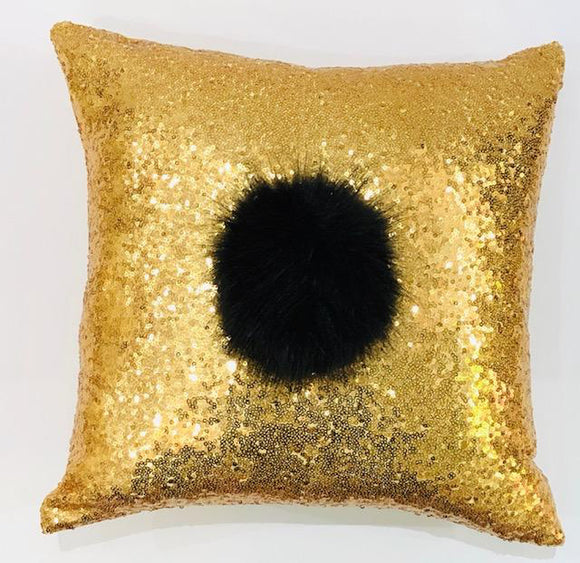 Gold Sequin Pillow with Large Black Pom Pom