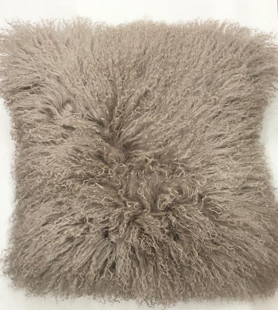 Gray Mongolian Wool Pillow Throw & Tuck Throw