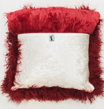 Cranberry Red Mongolian Wool Pillow Throw & Tuck Throw