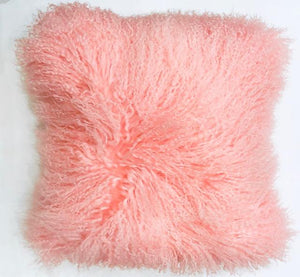 Pretty in Pink Mongolian Wool Pillow Throw & Tuck Throw
