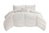 White Ruching Duvet Set